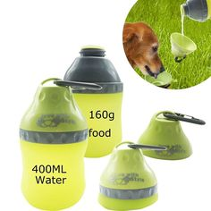 Portable Silicone Folding Pets Water Feeding Bottles Travel Outdoor Collapsingr Bowl Kettle with Carabiner Clip for Small Animals Dogs Cats Puppy Kitten (Green) -- Awesome products selected by Anna Churchill