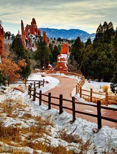 Snowy in the Garden of the Gods, Colorado Springs, Colorado, USA.  Go to www.YourTravelVideos.com or just click on photo for home videos and much more on sites like this.