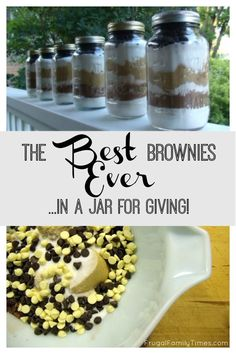 The Best Brownies Ever.   In a jar for gift giving. A moist and delicious brownie recipe.  This gift in a jar makes for a thoughtful and appreciated teacher gift!