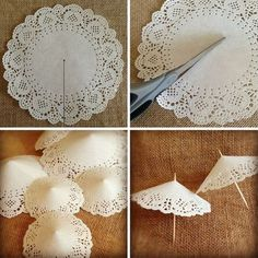 15 ideas for bridal shower tea party paper doilies Paper Doily Crafts, Doilies Crafts, Paper Crafting, Mini Umbrella, Umbrella Crafts, Lace Umbrella, Craft Projects, Projects To Try, Diy And Crafts