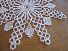 Unusual White Cotton Crocheted Table Lace with Plastic Rings