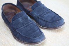Massimo Dutti loafers nubuk przed i po renowacji SkinMyWay