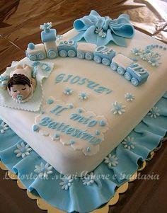 torta decorata battesimo