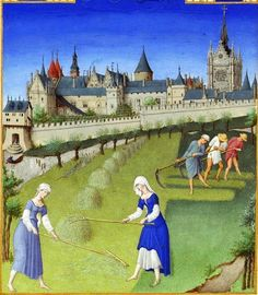 Labors of the Months, The Tres Riches Heures du Duc Berry (Book of Hours) ca, 1412-1416 - background is Château de Saumur. Detail Havesting the Grain.