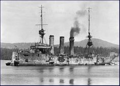 6 in Monmouth class armoured cruiser HMS Cornwall immediately after the Battle of the Falkland Islands on 8th December 1914. She sank light cruiser SMS Leipzig, thus avenging Monmouth herself (lost shortly before at the Battle of Coronel), sustaining 18 x 4.1 in hits in the process - though remarkably no casualties.