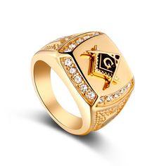 Mens Gold Masonic Ring - FREE SHIPPING
