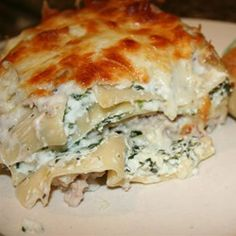 Chicken Lasagna - double the sauce, can include spinach, make sure to season the chicken well.