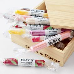 Holiday flavored taffy - with flavors like Egg Nog, Peppermint, & Cranberry