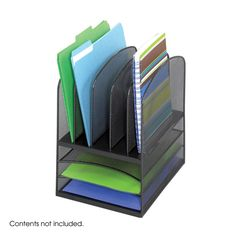 Onyx™ Black Mesh Desk Organizer 3 Horizontal 5 Upright