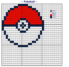 Cross Stitch chart of a Pokemon Pokeball. Whole stitches. On adia I used 2 strands on both stitches and backstitch. Pokemon& (c) Nintendo Chart design by me Colours in DMC. Cross Stitch Cards, Cross Stitching, Cross Stitch Embroidery, Cross Stitch Designs, Cross Stitch Patterns, Pokemon Cross Stitch, Stitch Character, Knitting Charts, Pikachu