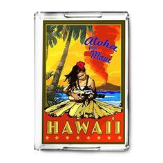 Maui, Hawaii - Hula Girl & Ukulele - LP Artwork (Acrylic Serving Tray)