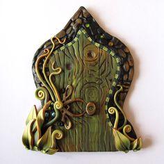 The Green Fairy, Fairy Door Pixie Portal, Absinthe Fairy Door in Gold and Green Art Nouveau
