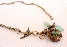 SILAS Woodland Birds Nest Aventurine Necklace & Earrings Matching Set with Czech Glass Leaves and Antique Brass from Dryad Dreams. €17,50, via Etsy.