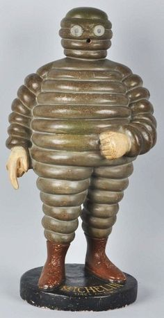 """Extremely rare. Early composition. Beautiful detail. Some minor restoration to a few areas. Michelin Tires Michelin Man Display .  Size 31 - 1/2"""" Tall"""
