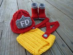 Custom Crochet Little Firefighter Set - For a baby coming that I know.