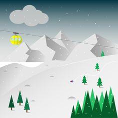 Winter illustrator material design flat