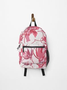 Pink background flowers • Millions of unique designs by independent artists. Find your thing. Fashion Backpack, Chiffon Tops, Finding Yourself, Classic T Shirts, Canvas Prints, Backpacks, Artists, Unique, Flowers