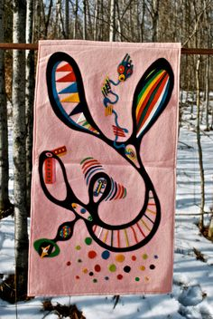 Unique Wool Felt Wall Hanging by ChickenLotto on Etsy570 x 851 | 166.1KB | www.etsy.com