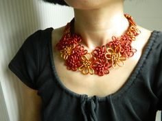 Fall Colors, Japanese/Chinese Knot Necklace, fiber necklace, textile necklace, floral Knot necklace, bib necklace