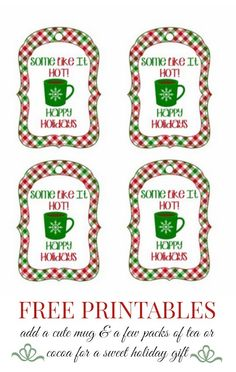 DIY gift idea PERFECT For a teacher's gift. Print this FREE printable gift tag, add a mug and a few packages of special tea or cocoa. DONE! Thoughtful AND pretty. Link in the Ultimate Holiday Gift Guide.