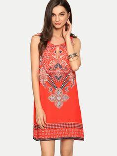 ¡Cómpralo ya!. Red Sleeveless Print Hollow Shift Dress. Red Vintage Polyester Round Neck Sleeveless Short Cut Out Floral Fabric has no stretch Summer Peasant Dresses. , vestidoinformal, casual, informales, informal, day, kleidcasual, vestidoinformal, robeinformelle, vestitoinformale, día. Vestido informal  de mujer color rojo de SheIn.