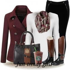 Black pants, white shirt, brown coat, grey/brown printed scarf, black/brown boots