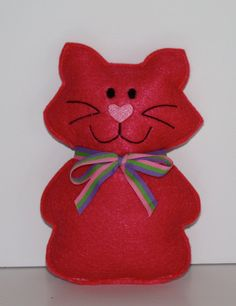 Little Pink Kitty Cat felt Softie Christmas by FrogBlossoms, $5.00