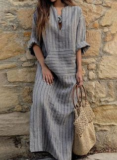 2018 Autumn Women Striped Dress Sexy V Neck Long Sleeve Maxi Long Dresses Vintage Casual Loose Plus Size Vestidos Vestidos Sexy, Vestidos Plus Size, Vestidos Vintage, Long Sleeve Maxi, Maxi Dress With Sleeves, Short Sleeve Dresses, Plain Dress, Sheath Dress, Dress Pockets