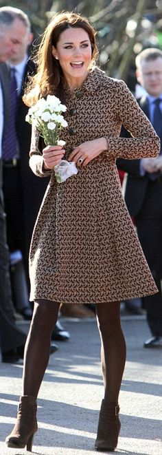 Duchess of Cambridge makes first visit as royal patron of The Art Room wearing dove-print dress www.orlakiely.com...