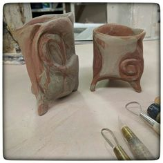 Handbuilt carved cups in progress- will be white where the light clay is and red where the dark clay is. Working hard getting everything ready for King Richard's Faire in Carver MA this year weekends 9/3-10/23! . . . . .  #art #artoftheday #artwork #agateware #cup #earthenware #ceramicsofinstagram #pottery #inprocess #wip #almostdone #new #newideas #handmade #handmadepottery #agateware #drinkme #prepare #handmadeisbetter #terracotta #potteryphotos #photographingpottery #bostonpotter…