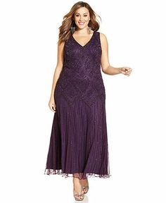 $219   Pisarro Nights Plus Size Beaded Drop-Waist Gown and Jacket - Mother of the Bride - Women - Macy's