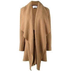 Harris Wharf London waterfall coat ($629) ❤ liked on Polyvore featuring outerwear, coats, brown, alpaca coat, brown coat and waterfall coat