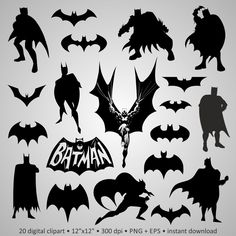 "50% OFF Digital Clipart Silhouettes ""Batman"", logo, bat, cartoon character super hero, cute black images png + eps vector for scrapbook by PeppyPapers on Etsy"