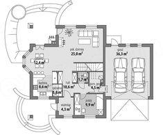 Projekt domu Ariadna II 135,9 m2 - koszt budowy - EXTRADOM Micro House, Bungalow House Design, Floor Plans, Cake, Home Layouts, Modern Houses, Trendy Tree, Kuchen, Torte