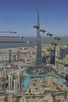 Patrouille de France and Breitling Jet team - Airshow Dubai - flying past the Burj Khalifa Dubai City, Dubai Uae, Dubai Trip, Visit Dubai, Best Hotel Deals, Best Hotels, Voyage Dubai, Photo Voyage, Futuristic Architecture