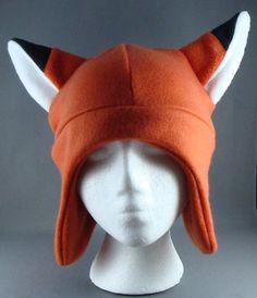 Items similar to Fox Ears Hat Animal Fleece Hat Skiing Snowboarding Gothic Rave Punk Earflap on Etsy Fox Costume, Costume Hats, Fleece Projects, Sewing Projects, Custom Fitted Hats, Animal Hats, Fox Animal, Baby Hut, Newborn Beanie