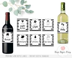 Year of Firsts Wine Labels  Modern Wine Labels Wedding Wine