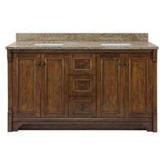 Home Decorators Collection Creedmoor 61 in. W x 22 in. D Vanity in Walnut with Granite Vanity Top in Giallo Ornamental with White Basins