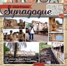 """Pictures of the synagogue in Capernaum. Journaling reads """"My favorite part of Capernaum was the synagogue. It is a beautiful structure that was built on the remains of the synagogue that Jesus preached at in John I loved being in this place that Travel Scrapbook Pages, Vacation Scrapbook, Disney Scrapbook, Israel Tours, Israel Trip, Little Yellow Bicycle, Jordan Travel, Image Layout, Israel Travel"""