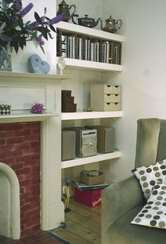 Alcove Shelves - Simple and clean Alcove Shelving, Alcove Cupboards, Room Shelves, Living Room Grey, Home Living Room, Living Room Designs, Family Dining Rooms, Family Room, Condo Living