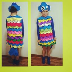 Rainbow Fish Costume - using felt mettalic cloth and foam for tail. I just cut lots of colourful semi circles and patched it one after another on the base ...  sc 1 st  Pinterest & Rainbow Fish Costume | The Rainbow Fish | Pinterest | Rainbow fish ...