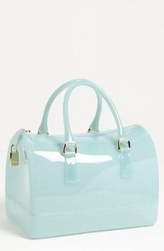 This is so fun! Furla Transparent Rubber Satchel. | See more about mint purse, candy colors and furla.