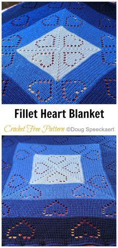 Crochet Bedspread Pattern, Crochet Baby Blanket Free Pattern, Crochet Square Patterns, Free Crochet, Knit Crochet, Crochet Afghans, Crochet Heart Blanket, Fillet Crochet, Manta Crochet