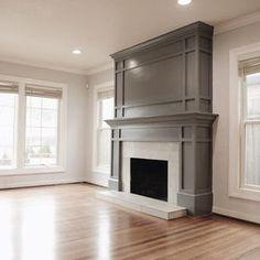 Fireplace Redo, Fireplace Remodel, Fireplace Design, Fireplace Ideas, Craftsman Fireplace, Fireplace Molding, Grey Fireplace, Fireplace Refacing, Craftsman Trim