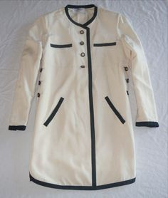 ~ CHANEL IVORY & BLACK TWO TONE SHIRT DRESS (FOREVER CLASSIC!) F 42 #CHANEL