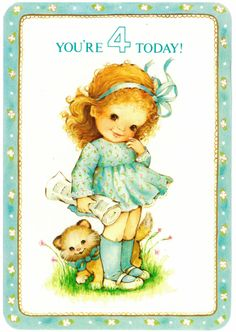 Vintage 4th birthday card from 1980. Interior reads: Today's the day you're four! Hooray! Have a happy, happy day! Hallmark.
