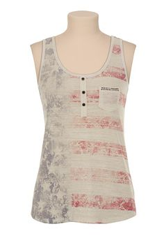 Open Back Flag Print Henley Tank available at #Maurices