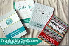 Personalized Notebooks from the dollar store!  Add your design with mod podge and you are set!  #notebooks #crafting #journals