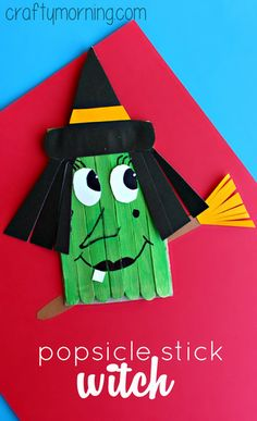 Make a Funny Witch Craft Using Popsicle Sticks #Halloween craft for kids to make! | CraftyMorning.com