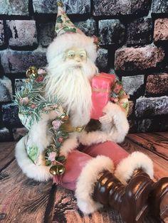 "Shabby Pink Victorian 30"" Santa Claus Soft Doll Chic Roses Tapestry Jacket  | eBay"